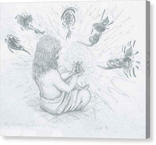 Canvas Print featuring the drawing My Father's Salvation by Jeanette Jarmon