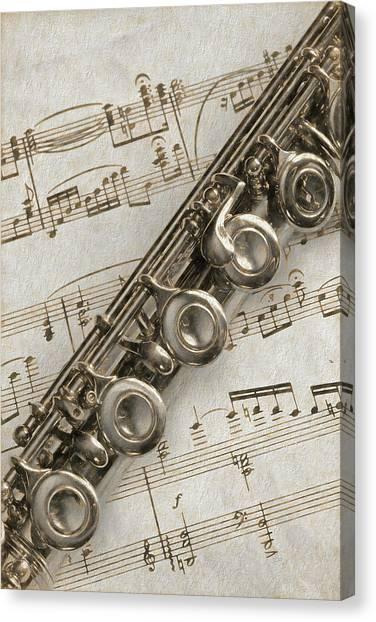 My Flute Photo Sketch Canvas Print