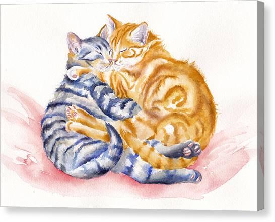 Tabby Cat Canvas Print - My Furry Valentine by Debra Hall