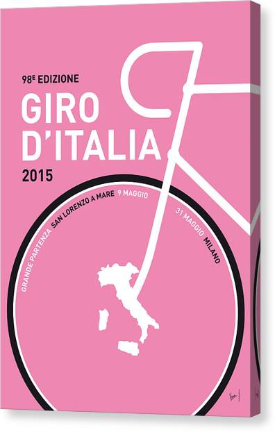 Bicycle Canvas Print - My Giro D'italia Minimal Poster 2015 by Chungkong Art