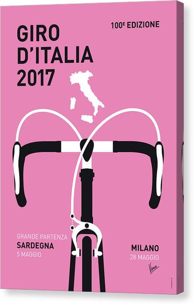 Bicycle Canvas Print - My Giro Ditalia Minimal Poster 2017 by Chungkong Art