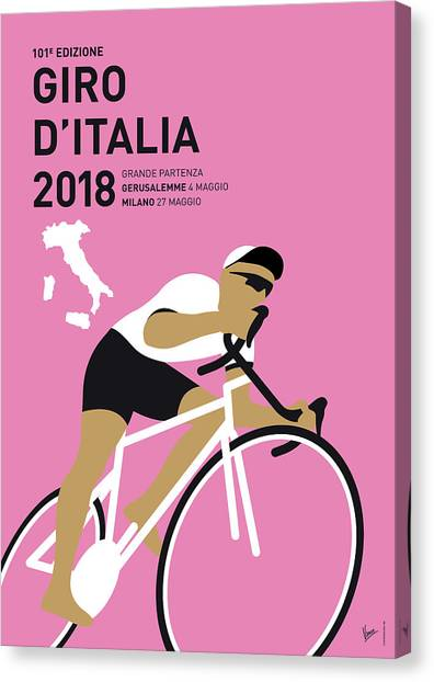 Cycling Canvas Print - My Giro Ditalia Minimal Poster 2018 by Chungkong Art