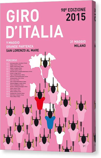 Tour De France Canvas Print - My Giro D'italia Minimal Poster Percorso 2015 by Chungkong Art