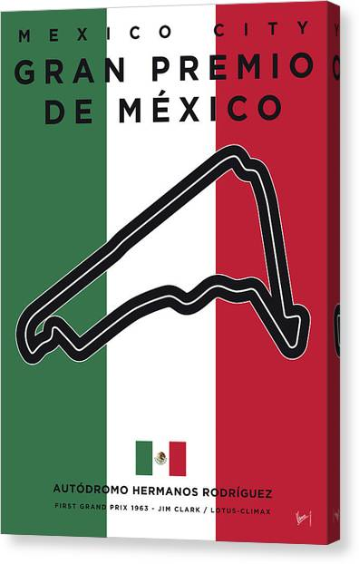 Formula Car Canvas Print - My Gran Premio De Mexico Minimal Poster by Chungkong Art