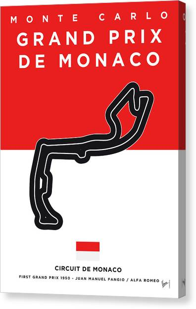 Formula Car Canvas Print - My Grand Prix De Monaco Minimal Poster by Chungkong Art