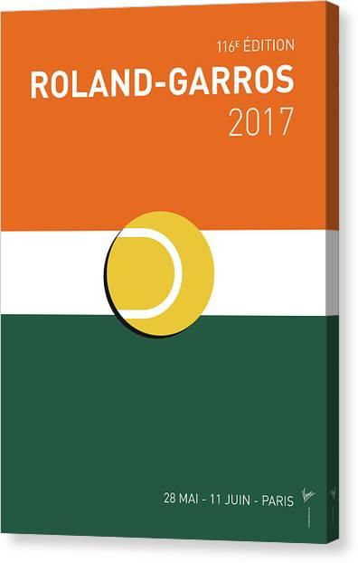 Tennis Canvas Print - My Grand Slam 02 Rolandgarros 2017 Minimal Poster by Chungkong Art