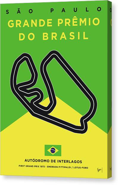 Formula Car Canvas Print - My Grande Premio Do Brasil Minimal Poster by Chungkong Art