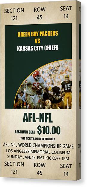 Superbowl Canvas Print - My Green Bay Packers Superbowl Ticket by Joe Hamilton