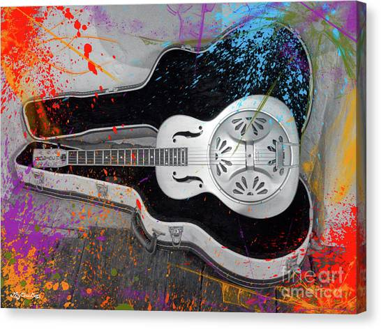 Slide Guitars Canvas Print - My Gretsch Dobro by Art by MyChicC