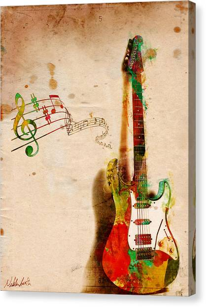 Electric Guitars Canvas Print - My Guitar Can Sing by Nikki Smith