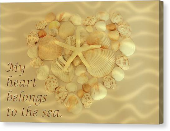 Canvas Print featuring the photograph My Heart Belongs To The Sea by Angie Tirado
