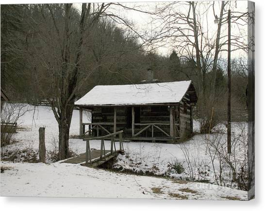 My Lil Cabin Home On The Hill In Winter Canvas Print