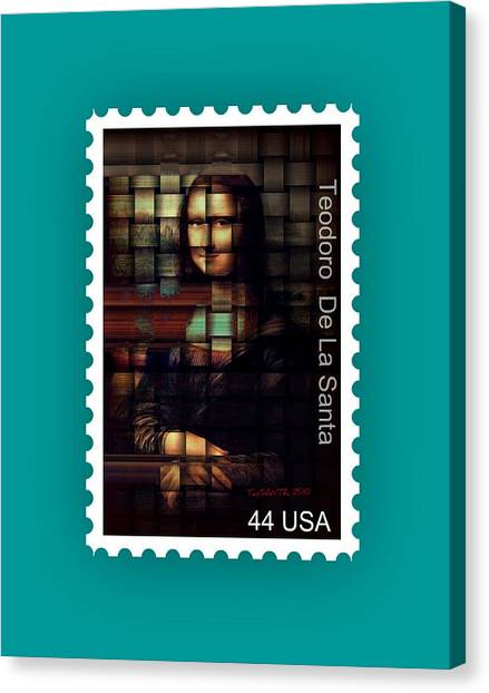 My Mona Lisa Stamp Series Canvas Print by Teodoro De La Santa