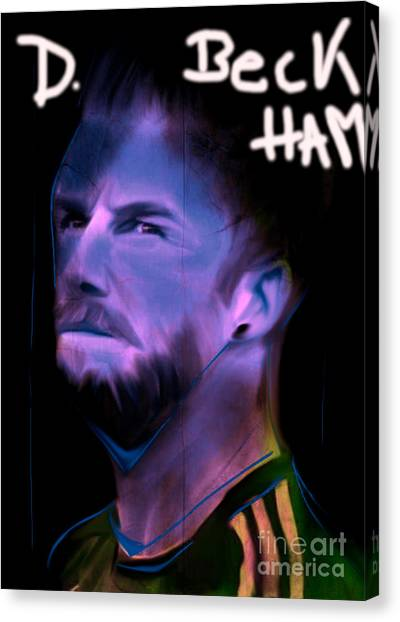 David Beckham Canvas Print - My Name Is David Beckham In Soccer Dress by Felix Von Altersheim