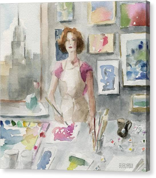 Abstract Portrait Canvas Print - My New York Studio by Beverly Brown Prints