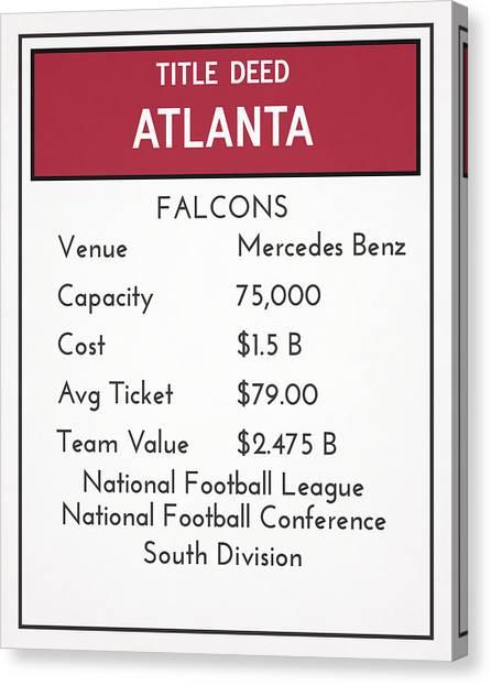 Atlanta Falcons Canvas Print - My Nfl Atlanta Falcons Monopoly Card by Joe Hamilton