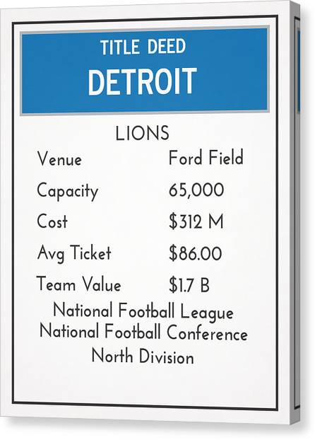 Detroit Lions Canvas Print - My Nfl Detroit Lions Monopoly Card by Joe Hamilton