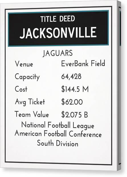 Jacksonville Jaguars Canvas Print - My Nfl Jacksonville Jaguars Monopoly Card by Joe Hamilton