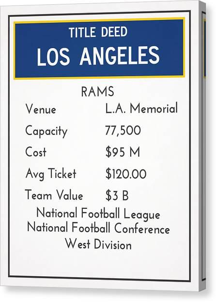 Los Angeles Rams Canvas Print - My Nfl Los Angeles Rams Monopoly Card by Joe Hamilton