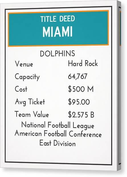 Miami Dolphins Canvas Print - My Nfl Miami Dolphins Monopoly Card by Joe Hamilton