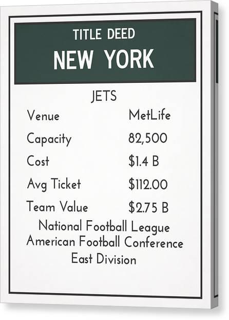 New York Jets Canvas Print - My Nfl New York Jets Monopoly Card by Joe Hamilton