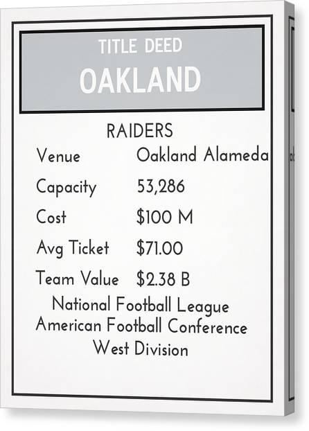Oakland Raiders Canvas Print - My Nfl Oakland Raiders Monopoly Card by Joe Hamilton