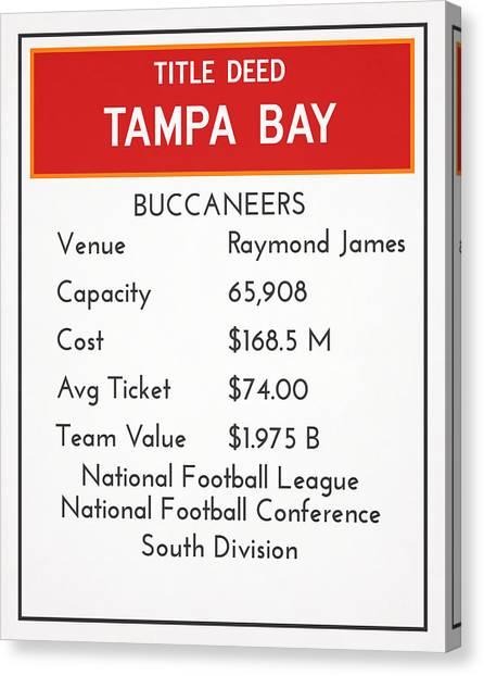 Tampa Bay Buccaneers Canvas Print - My Nfl Tampa Bay Buccaneers Monopoly Card by Joe Hamilton