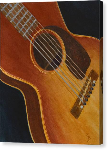Canvas Print featuring the painting My Old Sunburst Guitar by Karen Fleschler