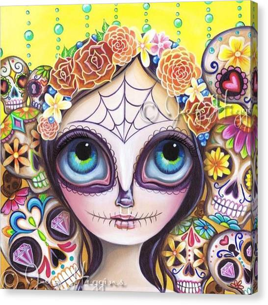 Skulls Canvas Print - My Original sugar Skull Princess by Jaz Higgins