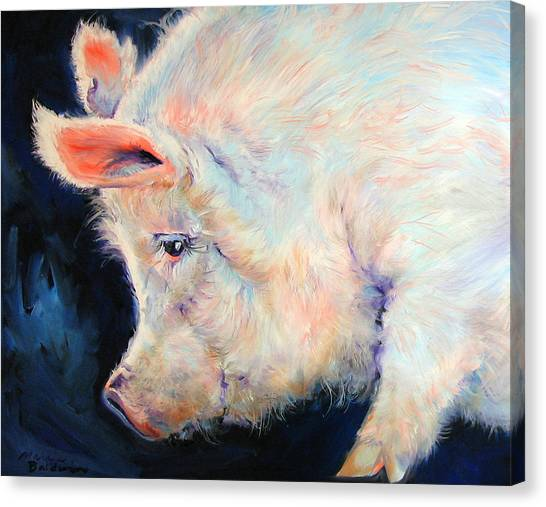 My Pink Pig  For A Lucky Day By M Baldwin Canvas Print by Marcia Baldwin
