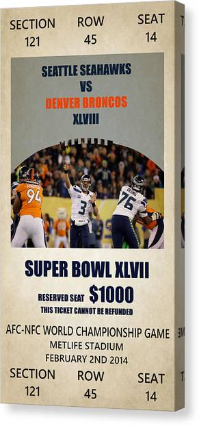 Seattle Seahawks Canvas Print - My Seattle Seahawks Super Bowl 48 Ticket by Joe Hamilton