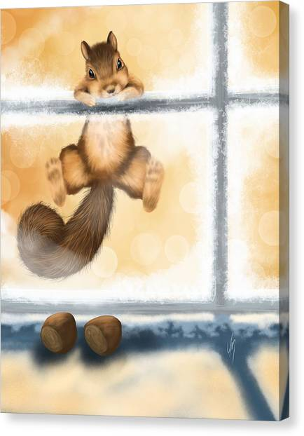 Squirrels Canvas Print - My Sweet Gift by Veronica Minozzi