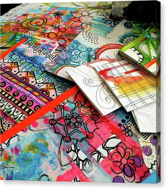 Canvas Print - My Table When Im Making Journals...this by Robin Mead