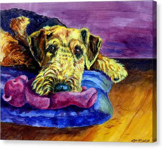 Teddy Bears Canvas Print - My Teddy Airedale Terrier by Lyn Cook
