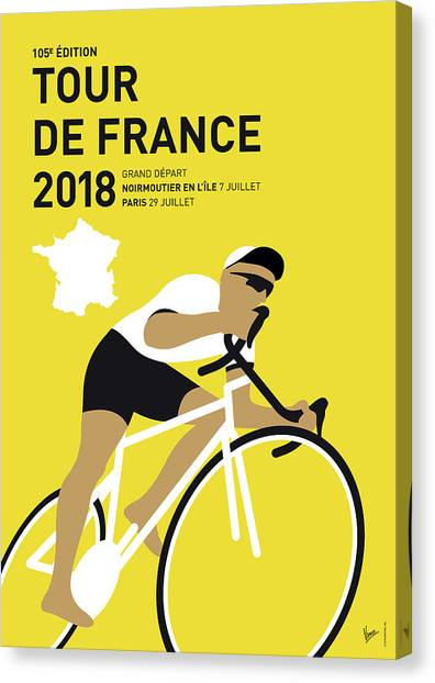Cycling Canvas Print - My Tour De France Minimal Poster 2018 by Chungkong Art