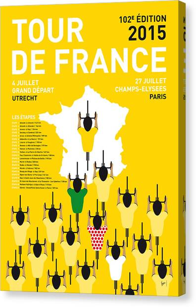 Paris Canvas Print - My Tour De France Minimal Poster Etapes 2015 by Chungkong Art