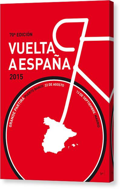 Tour De France Canvas Print - My Vuelta A Espana Minimal Poster 2015 by Chungkong Art