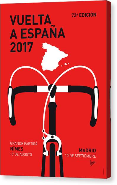 Cycling Canvas Print - My Vuelta A Espana Minimal Poster 2017 by Chungkong Art