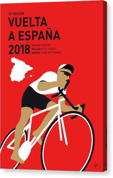 Tour De France Canvas Print - My Vuelta A Espana Minimal Poster 2018 by Chungkong Art