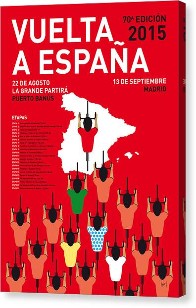 Bicycle Canvas Print - My Vuelta A Espana Minimal Poster Etapas 2015 by Chungkong Art
