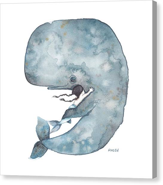 Ocean Animals Canvas Print - My Whale by Soosh