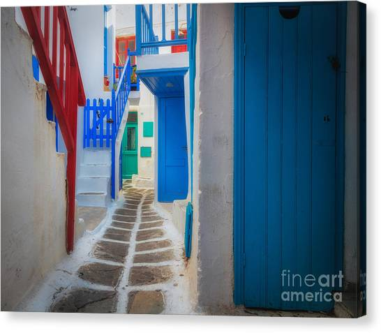 Greece Canvas Print - Mykonos Alley by Inge Johnsson