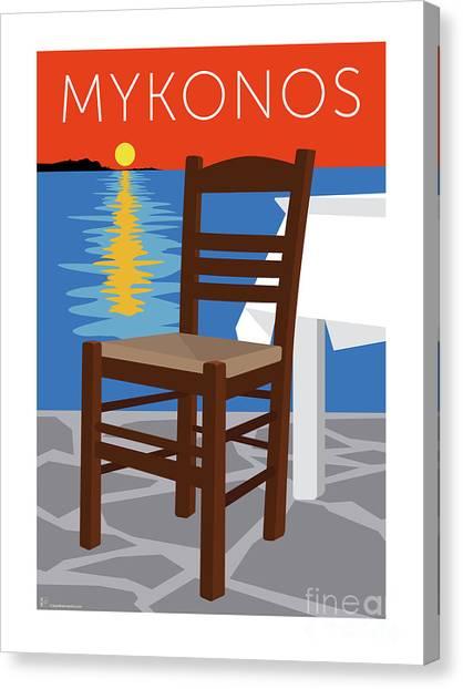Canvas Print featuring the digital art Mykonos Empty Chair - Orange by Sam Brennan
