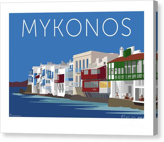 Mykonos Little Venice - Blue Canvas Print