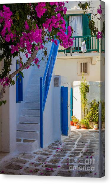 Greece Canvas Print - Mykonos Staircase by Inge Johnsson