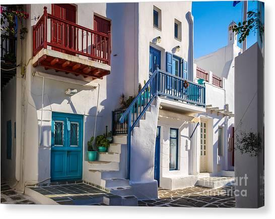 Mykonos Stairs And Balconies Canvas Print by Ken Andersen