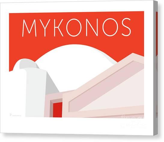 Canvas Print featuring the digital art Mykonos Walls - Orange by Sam Brennan