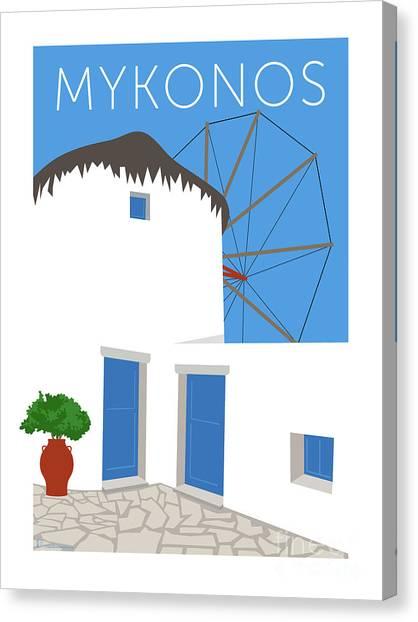Canvas Print featuring the digital art Mykonos Windmill - Blue by Sam Brennan