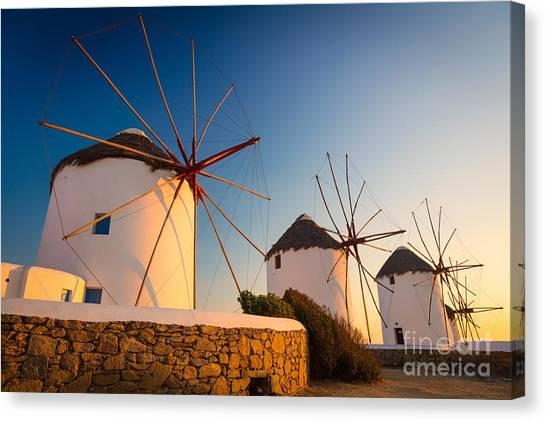 Greece Canvas Print - Mykonos Windmills by Inge Johnsson