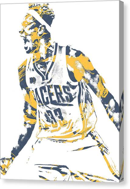 Indiana Pacers Canvas Print - Myles Turner Indiana Pacers Pixel Art 1 by Joe Hamilton